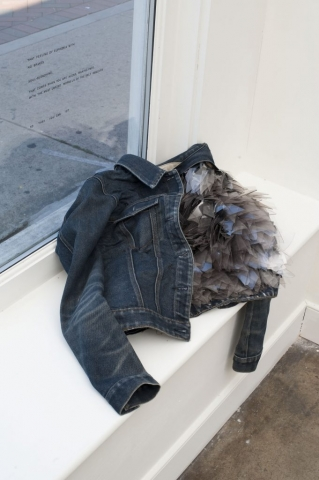 Victoria Ahmadizadeh (USA). The Most Unkind Morsels of the Self Removed, 2016. 13h x 51w x 48d cm. Denim jacket, blown glass shards. Photo: David Hunter Hale